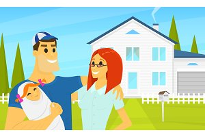 My Happy family in the background of the house. Father and mother with cute newborn baby. Summer landscape. Cottage on credit, rent of real estate. Vector Flat style. poster or banner for the web site