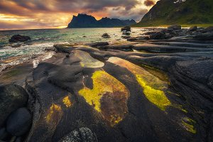 Sunset over Uttakleiv beach on Lofoten islands in Norway