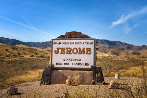 Welcome sign to the historic mountain town of Jerome, Arizona