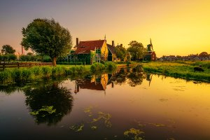 Sunset above the village of Zaanse Schans in the Netherlands