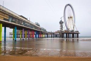 Beach view on the Pier in Scheveningen near Hague, Netherlands