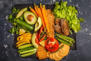 Vegetarian snacks and vegetables