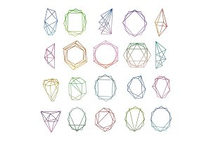 Modern polygonal geometric diamond frames