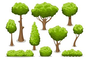 Cartoon bush and tree set