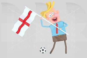 Man holding a flag of England