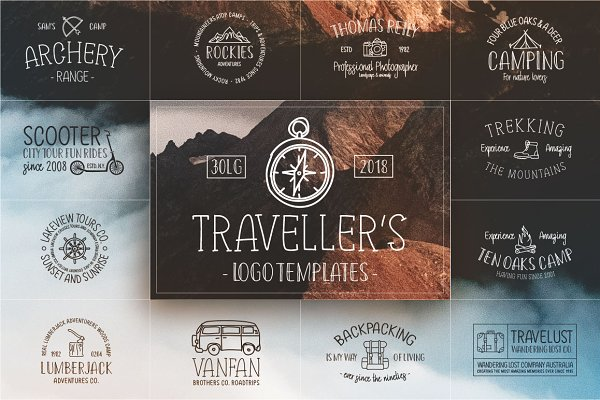 Retro Travel Logos & Fonts