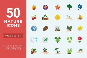 Flat Icons Nature Set