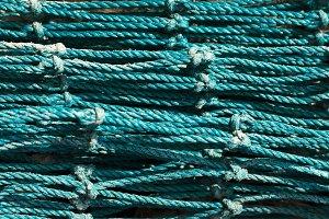 Close up green blue fishing net