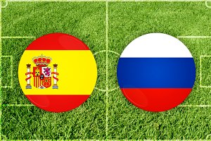 Spain vs Russia football match