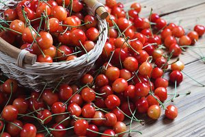 Ripe sweet cherry in a basket on the table