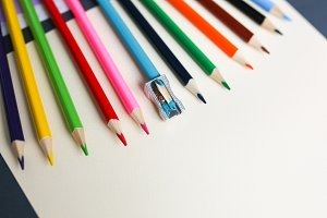 Colour pencils with sharpener