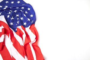 American flag border on white background