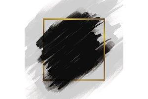 Black brush stroke with gold frame
