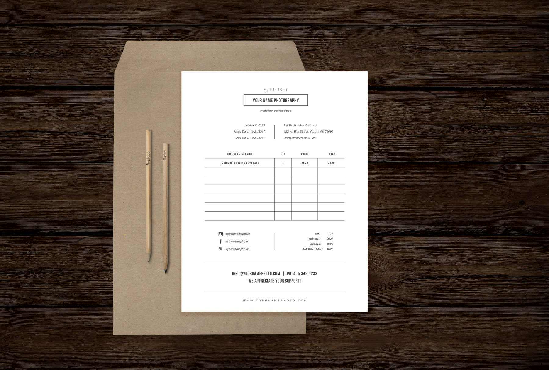 Wedding Photography Invoice: Photography Forms