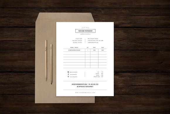 studio invoice template psd design stationery