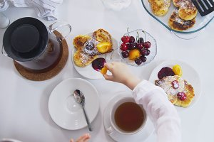Morning breakfast - tea with homemade sweets and fruits