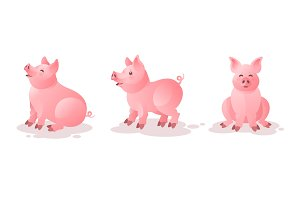 Set of cute pink pigs