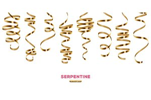 Shiny golden serpentine on white