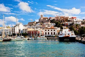 Panorama of Ibiza old city