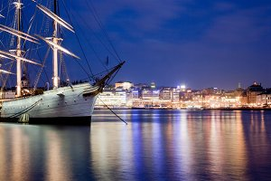 Ship at night in Stockholm