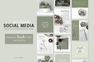 Social Media templates images & font