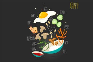 Bibimbap. Vector illustration