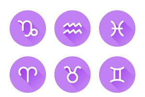 Set of Zodiac Signs Icons
