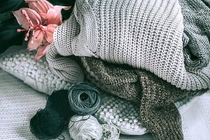 Knitted sweaters in home interiors