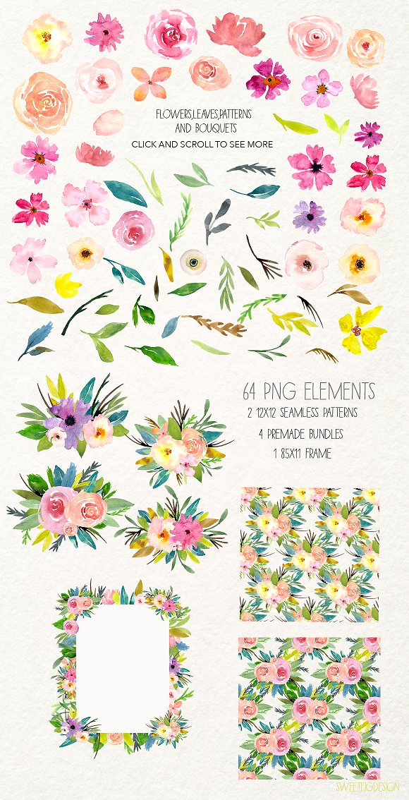 Handpainted Watercolor Flowers PNG in Illustrations - product preview 1