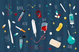 Set Medicine. Vector illustration