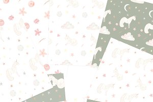Goodnight Unicorn Seamless Patterns