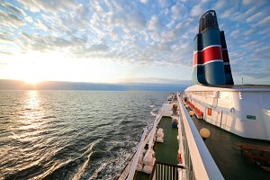 Ship deck, board view