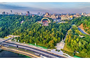 Panorama of Kiev with Friendship of Nations Arch and Monument to the Magdeburg Rights - Ukraine