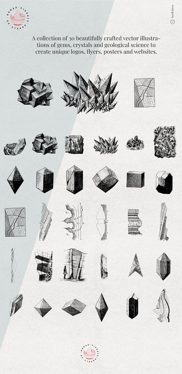 Gems & Stones Geology Illustrations