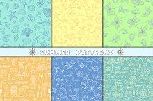 Set of hand drawn summer patterns