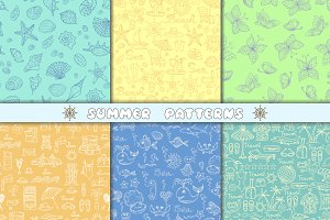 Set of hand drawn summer patterns