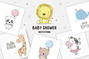 Baby Shower invite - cute animals