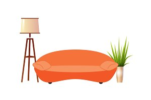 Realistic orange sofa with floor lamp and flowerpot interior vector illustration