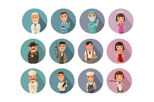 Set icon people different professions. Vector flat icon