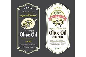 Set of Labels for Olive Oils. Elegant design for olive oil packaging