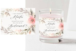 Custom Floral Candle Label PSD