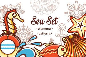 Sea set. Elements and patterns