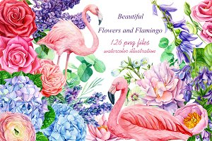 Beautiful flowers and flamingo