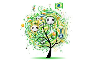 Football tree design, brazilian flag