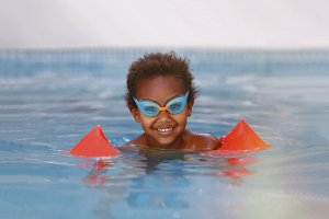 African child learning to swim