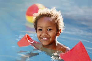 Happy child in the pool