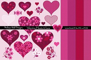 Valentine Hearts & Lace Textures