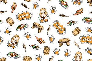 Pattern with hand drawn beer mugs