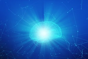 Human brain with light on blue background in the form of artificial intelligence for technology concept, 3d illustration