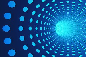 Blue abstract tunnel with holes in highway for technology background. Moving toward the light. 3d illustration